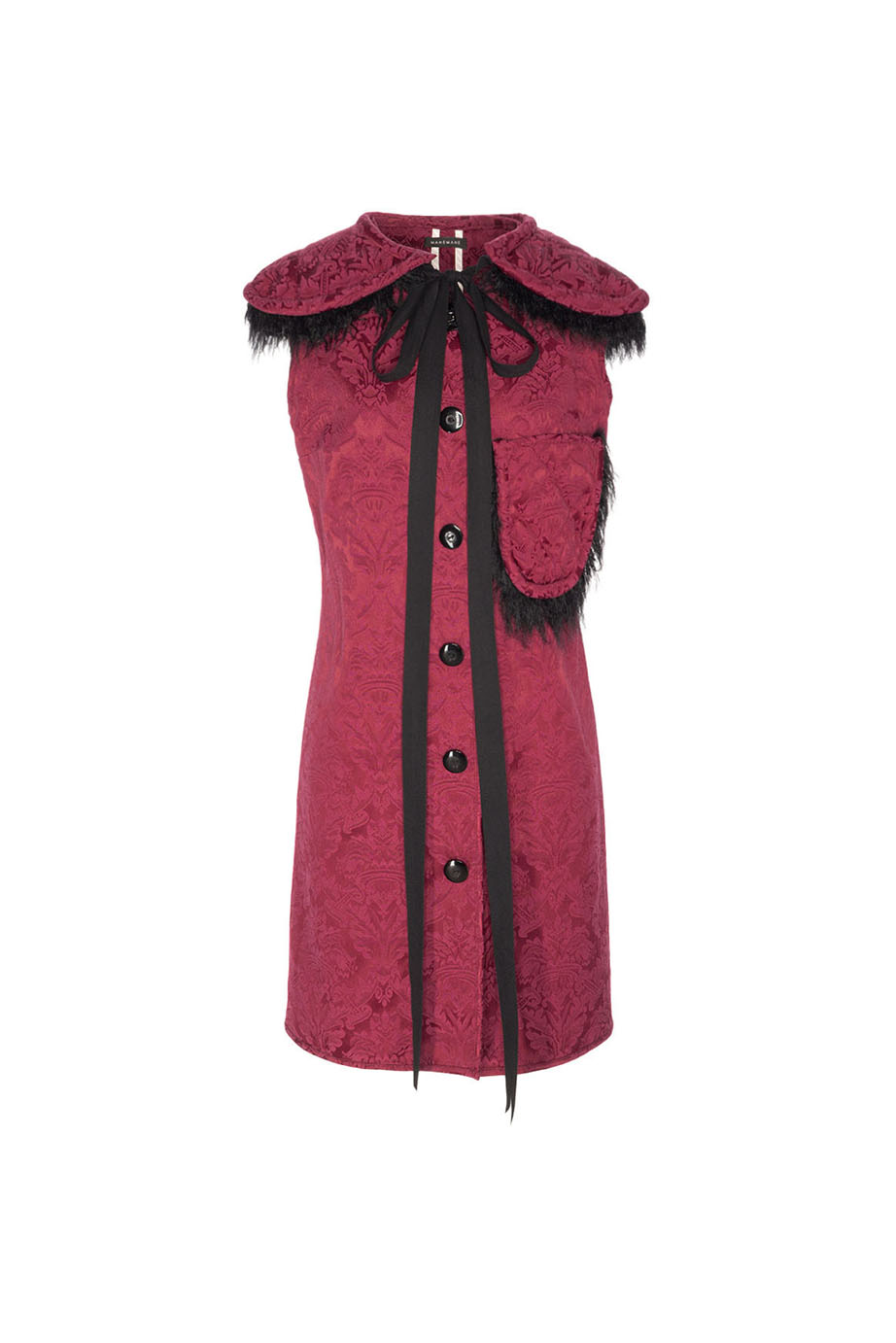 01. MANEMANE CARDINAL DAMASK MINI DRESS